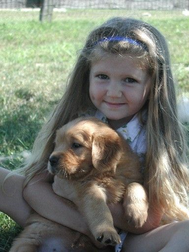 Niña con cachorro de Golden Retriever