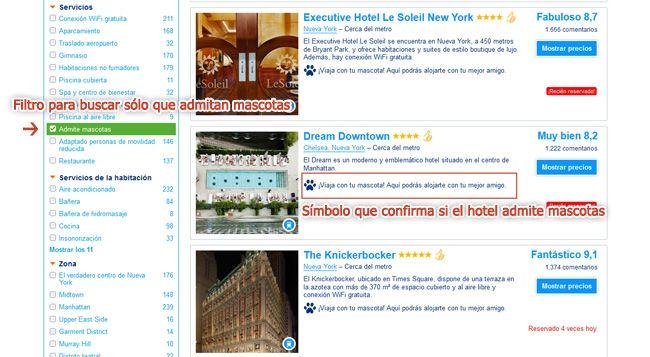 Filtro de Booking hoteles admiten mascotas